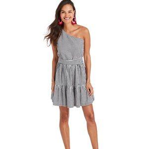 Vineyard Vines Gingham Seersucker 1 shoulder dress